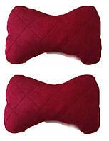 Подушка на подголовник ткань алькантара красная (2шт)