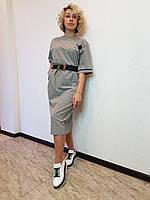 Серое платье трикотажное прямого силуэта в клеточку L'hotse