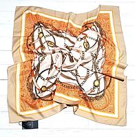 Шелковый платок Fashion Паула 90*90 см кофе с молоком