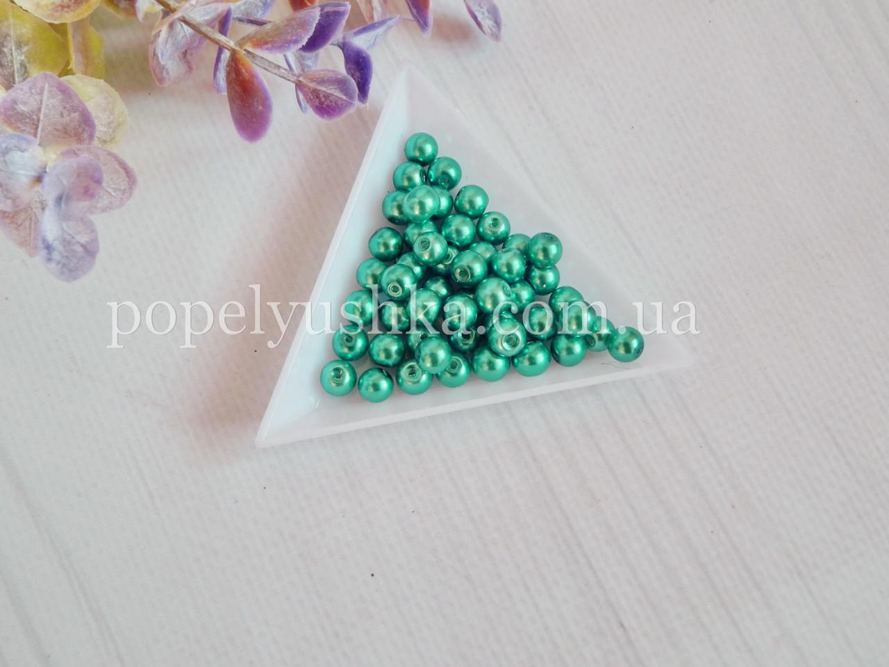 Жемчужины стеклянные 4 мм бирюза (50 шт.)