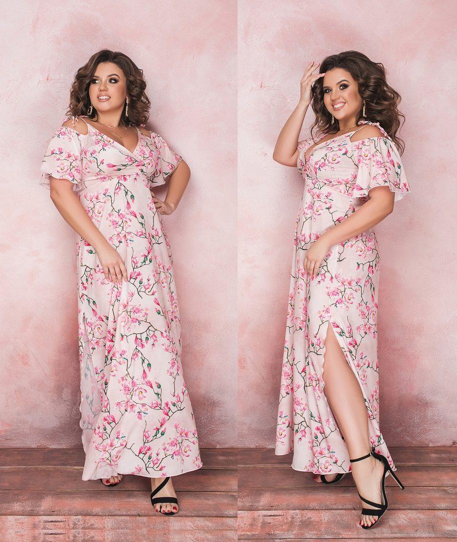 """Романтичное женское платье с цветным принтом и открытыми плечиками, ткань """"Софт"""" 54, 56 размер батал"""