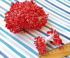 (≈1800шт) Тычинки-шишечки на нитке, 900шт двухсторонних ниток,головка ≈5х3мм Цвет - Красный