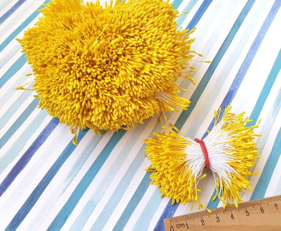 (≈4200шт) Тычинки гладкие на нитке, 2100шт двухсторонних ниток,головка ≈5х1,5мм Цвет - Жёлтый
