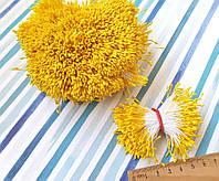 (≈4200шт) Тычинки гладкие на нитке, 2100шт двухсторонних ниток,головка ≈5х1,5мм Цвет - Жёлтый, фото 1