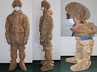 Комплект защитной одежды (одноразовый защитный комбинезон + защитная шапка + защитные бахилы)