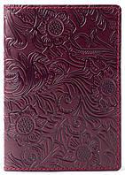 Кожаная Обложка Для На Паспорта для на Документы Женская Мужская , обкладинка на для паспорт Villini 015 Бордо