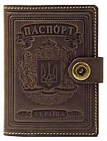 Кожаная Обложка Для На Паспорта для на Документы Женская Мужская , обкладинка на для паспорт 001 коричневый