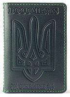 Кожаная обложка на id паспорт, на для документов права, техпаспорт зелёная обкладинка на паспорт Villini 019