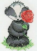 Набор для вышивания ДМС Барсук Берт с розой BK1196