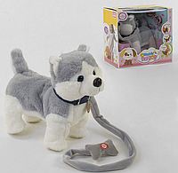 """Мягкая игрушка для малышей """"Собачка"""" модель С 43980, цвет серо- белая на поводке, в коробке."""