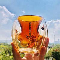 """Чашка с двойным дном Starbucks """"Cat Paw Cup"""" Кошачья лапа 175 мл оранжевая (кружка с двойными стеклом)"""