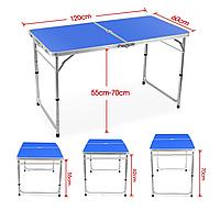 Стол для пикника усиленный с 4 стульями FOLDING TABLE (раскладной чемодан) / синий, фото 1