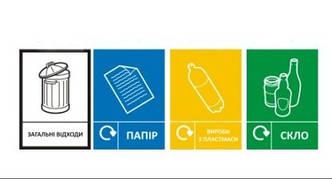 Наклейки для маркування контейнерів для збору вторсировини
