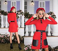 """Стильный женский костюм-двойка с накладными кармашками, """"Мягкий рубчик"""" 42, 44, 46 размер норма 42"""