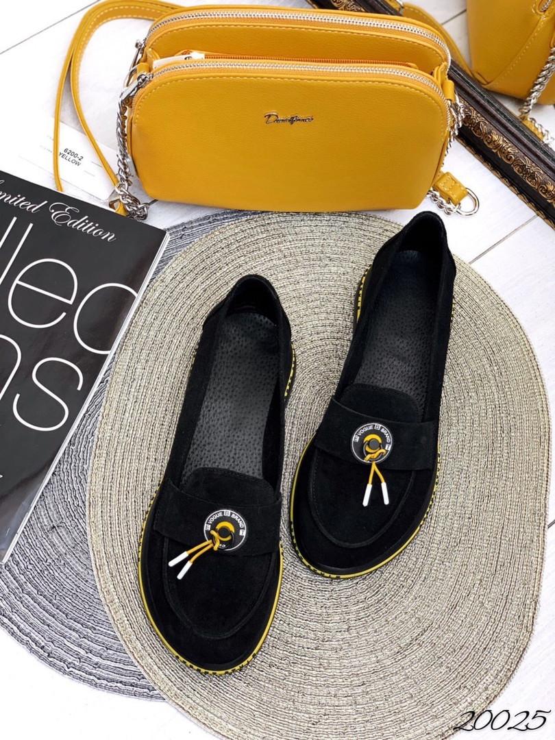 Мокасины Слипоны  чёрный замш желтые замш вставки натуральная замша