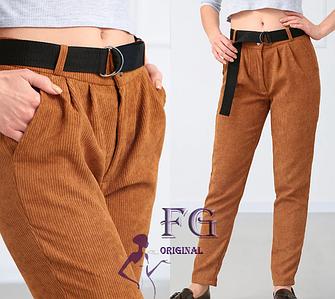 Стильные женские вельветовые брюки с поясом горчичный