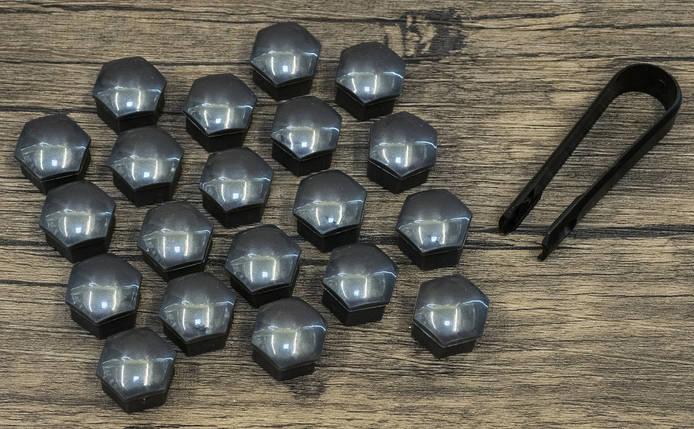 Колпачки (накладки) на колесные болты 17мм серые (20шт + съемник), фото 2