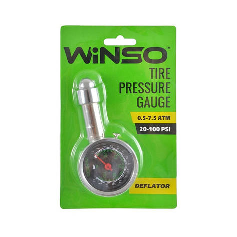 Автомобільний манометр для шин Winso металевий 7.5 атм (143200), фото 2