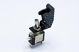 Переключатель с подсветкой, тумблер, выключатель питания 12В 20А LED, карбон крышка (Синий LED)