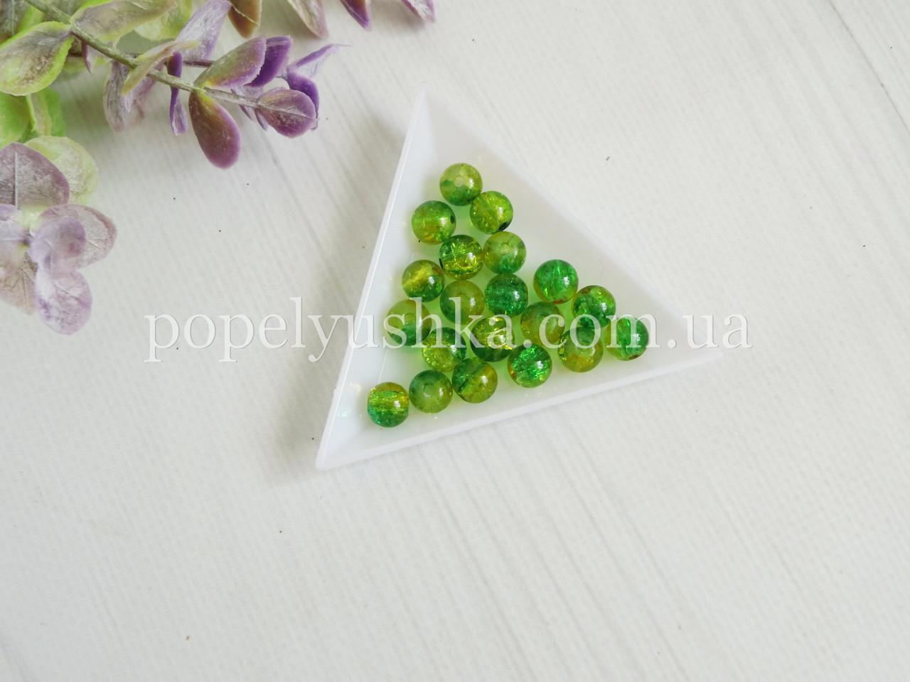 Бусины 8 мм желто-зеленые битое стекло (20 шт.)
