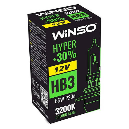 Галогенная лампа Winso HYPER +30% HB3 12V 65W P20d 3200 K (712500), фото 2