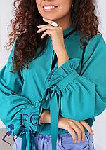 Стильная женская блуза с длинным рукавом и бантами черная, фото 2