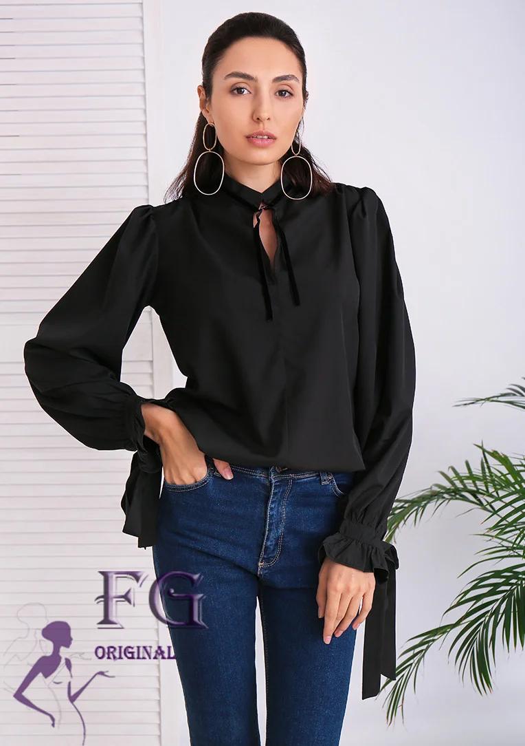 Стильная женская блуза с длинным рукавом и бантами черная