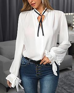 Классическая белая женская блуза с длинным рукавом