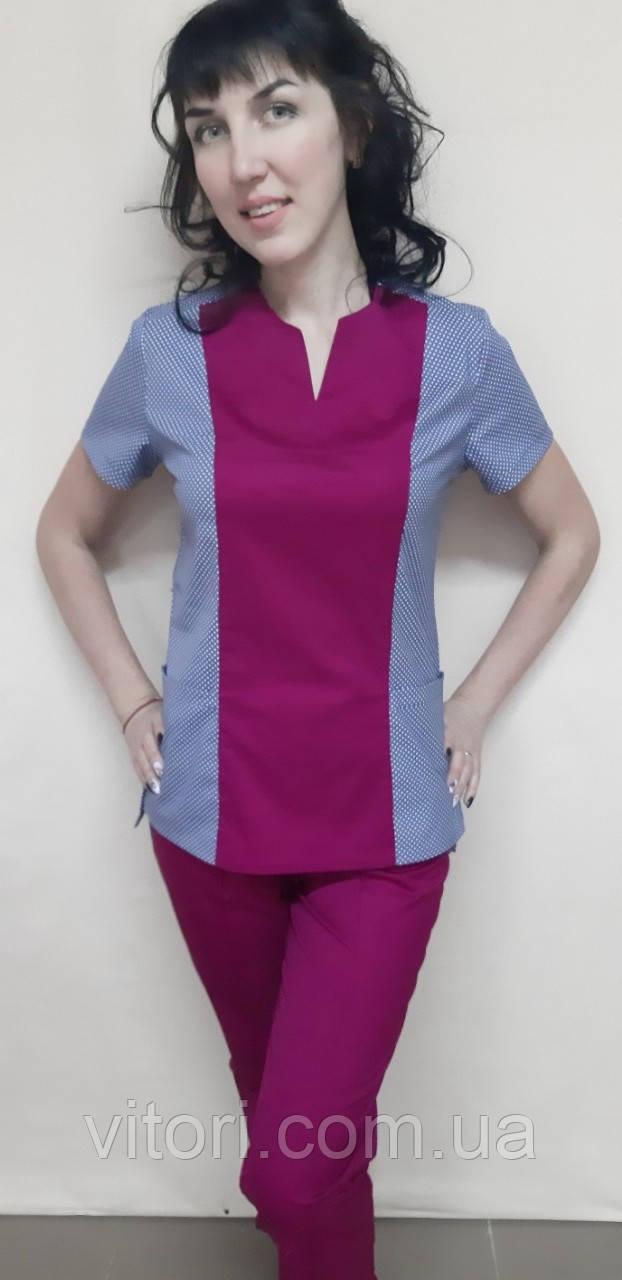 Костюм медицинский женский Престиж с рубашечно, стрейчевой ткани короткий рукав