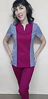 Костюм медицинский женский Престиж с рубашечно, стрейчевой ткани короткий рукав, фото 1