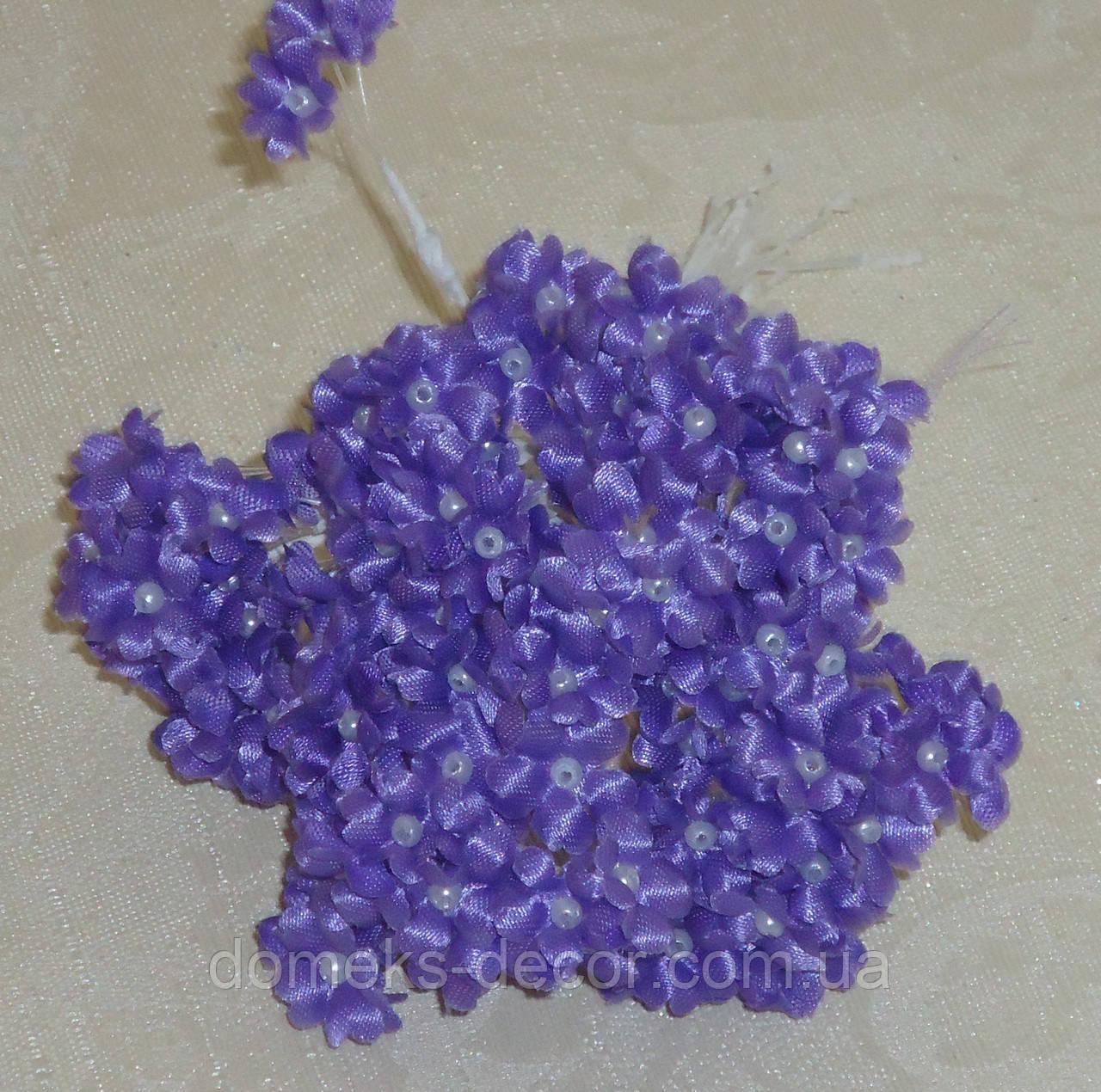 Бутоньерка незабудки фиолетовой ткань 10 шт