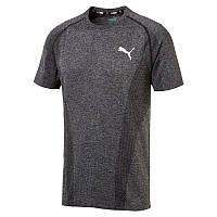 Футболка спортивная мужская Puma Evoknit Tee 855616 01 (темно-серая, для тренировок, синтетика, логотип пума)