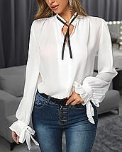 Бежевая классическая женская блуза прямая с завязками длинный рукав, фото 3