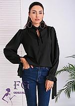 Бежевая классическая женская блуза прямая с завязками длинный рукав, фото 2