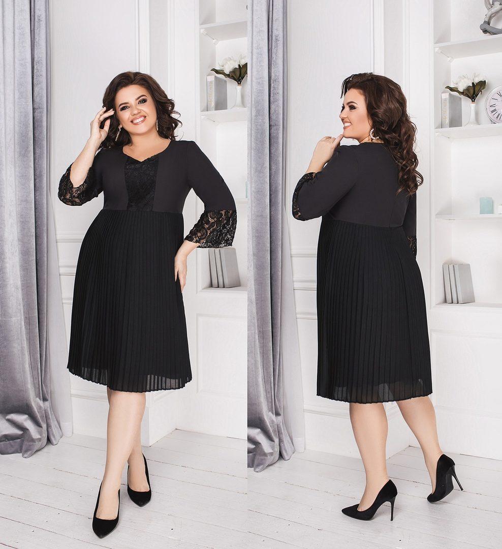 """Романтическое женское платье с кружевом ткань """"Костюмная"""" 52 размер батал"""