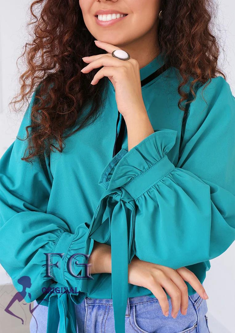 Женская прямая блуза с длинным рукавом морская волна