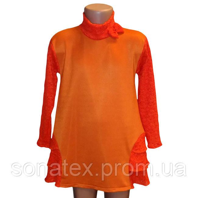 Платье оранжевое с рюшами, 52 размер