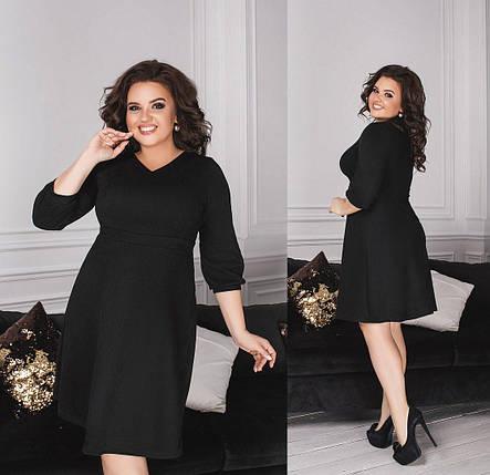 """Стильное, однотонное женское платье ткань """"Замш на основе Дайвинга"""" 56 размер батал, фото 2"""