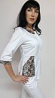 Женский медицинский костюм Лиза рубашечная ткань три четверти рукав
