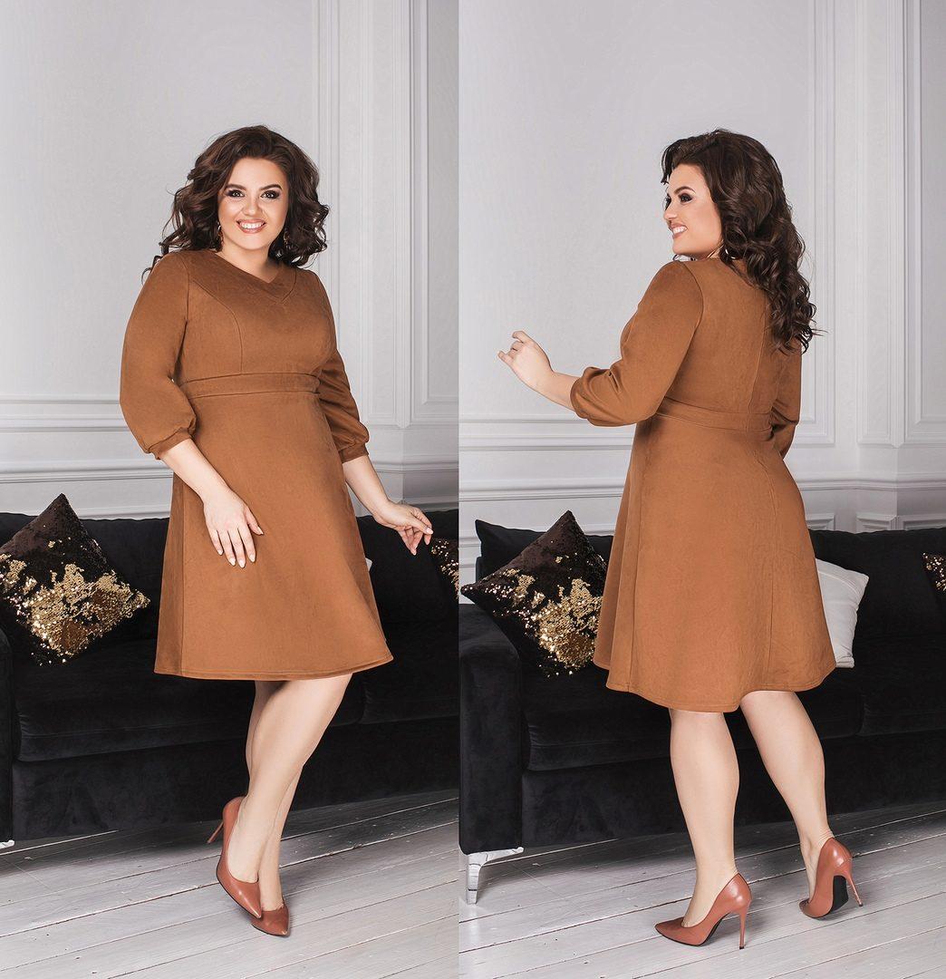 """Великолепное, однотонное женское платье ткань """"Замш на основе Дайвинга"""" 52 размер батал"""