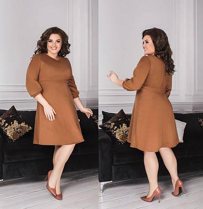 """Великолепное, однотонное женское платье ткань """"Замш на основе Дайвинга"""" 52 размер батал, фото 2"""