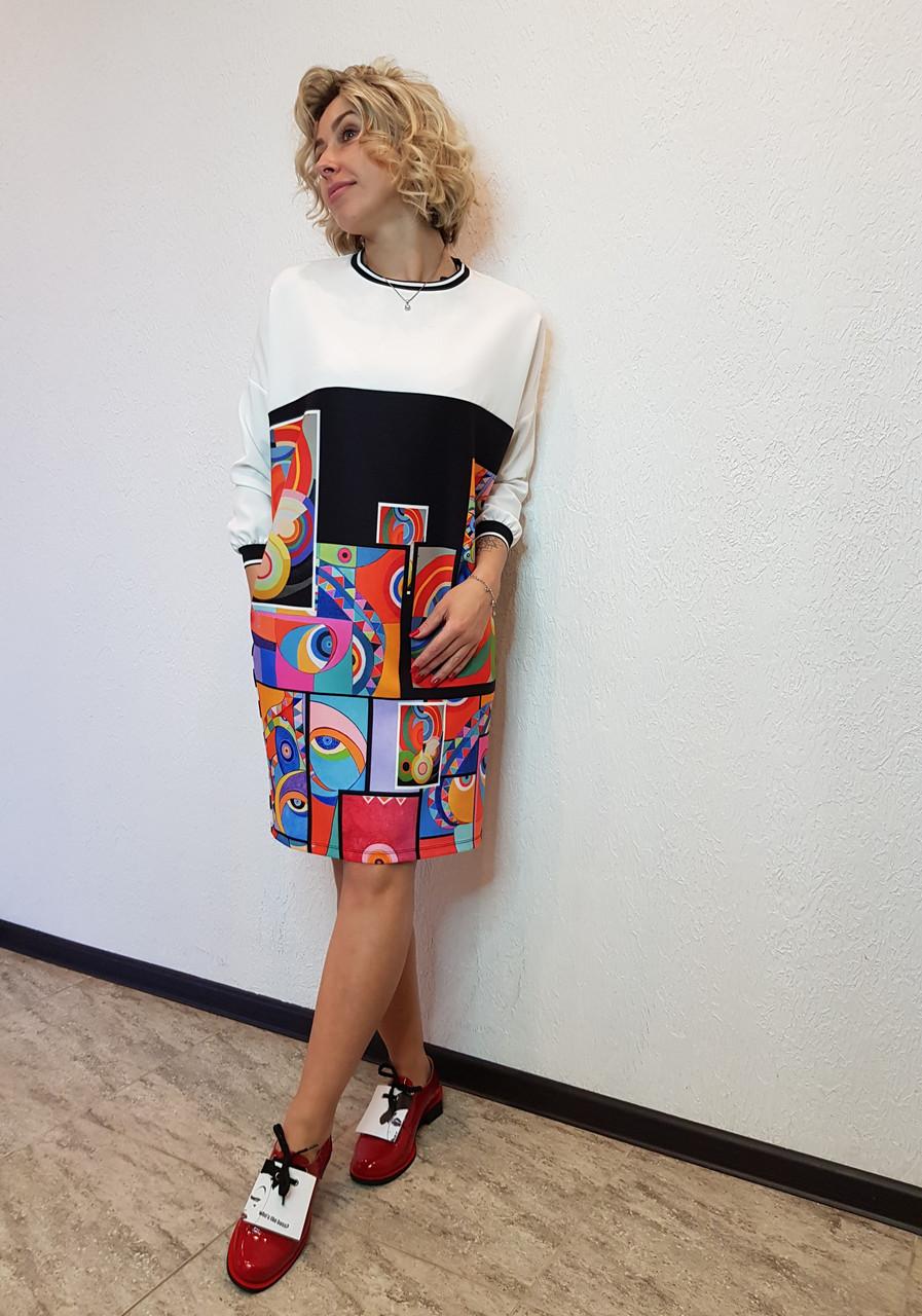 Платье принтованное прямого силуэта Say