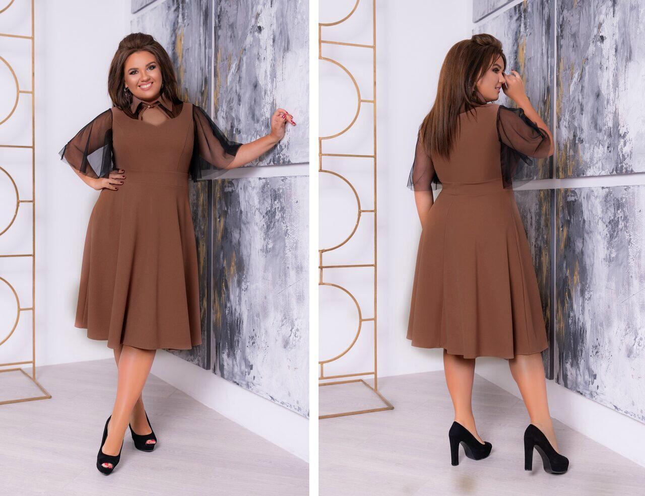"""Великолепное женское платье с воротничком стойка, ткань """"Креп-дайвинг"""" 58 размер батал"""