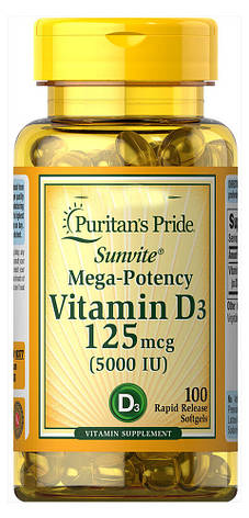 Vitamin D3 Puritans Pride 125 mcg (сильная концентрация) 100 капс, фото 2