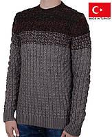 Теплый мужской свитер из меланжированной пряжи.Зимние кофты и свитера.