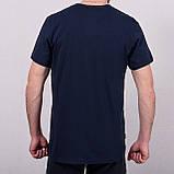 Чоловіча спортивна футболка Reebok великого розміру, синього кольору, фото 2
