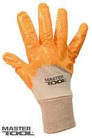 """Перчатки х/б трикотаж, неполное нитриловое покрытие, вязаный манжет (желтые) 8"""", 48-50 г"""