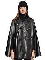 Кейп куртка черная из натуральной кожи, фото 1