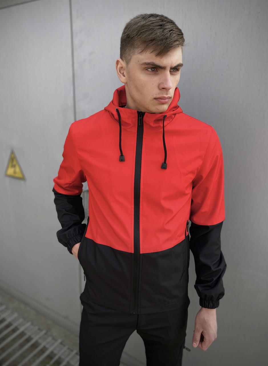 Мужская куртка Soft Shell с капюшоном, молодежная спортивная ветровка, цвет красно-черный+ подарок ключница
