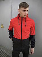 Мужская куртка Soft Shell с капюшоном, молодежная спортивная ветровка, цвет красно-черный+ подарок ключница, фото 1